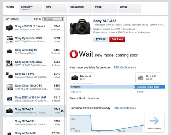 New gadget shopping site predicts price drops, newer models
