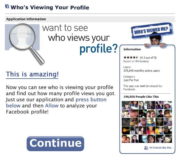 "Reminder: Avoid those ""see who viewed your profile"" apps on Facebook"