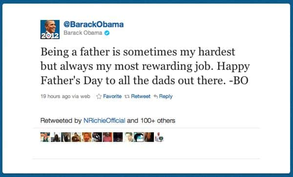 President Obama tweets—for real—on Father's Day