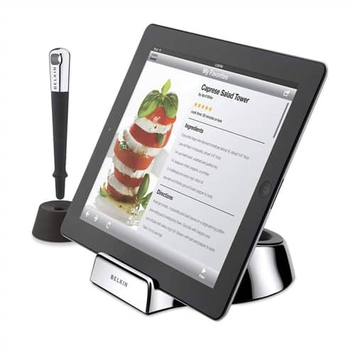 """Kitchen-safe"" iPad stand, stylus lets you tap and swipe with messy hands"