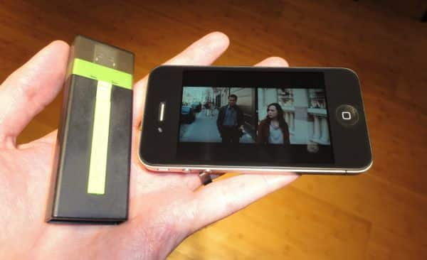 Portable AirStash flash drive wirelessly shares media files with your iPhone or iPad