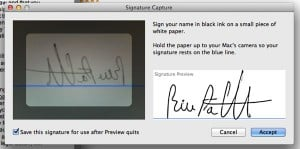 How to paste your signature into a PDF using your Mac's built-in webcam
