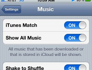 iTunes Match Show All Music setting 300x228 Bad iPhone battery life while shuffling music with iTunes Match? (reader mail)