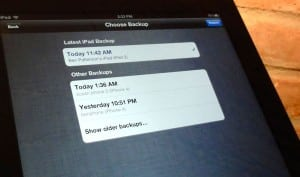 Choose a recent iCloud backup of your old iPad