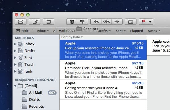 Drag a folder into the Mac Mail favorites bar