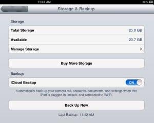 Making a new iCloud backup