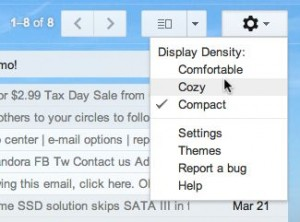 Change the Gmail display density