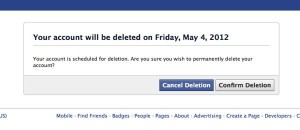 Facebook confirm deletion page