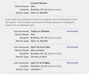 List of active Facebook sessions