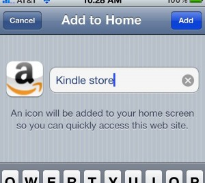 Creating a home screen shortcut for the Kindle store 300x268 How to add Amazons Kindle store to your iPhones home screen (reader tip)