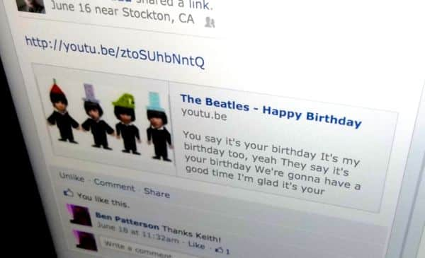 Facebook birthday post