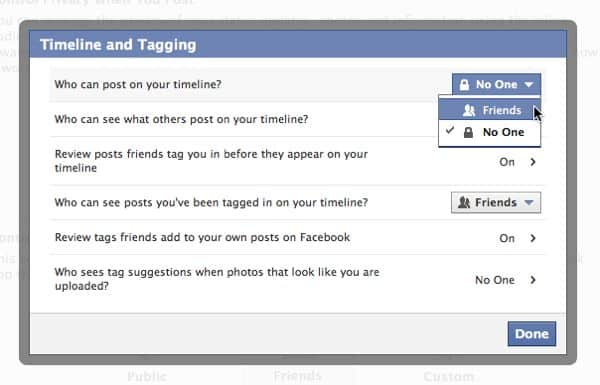 Facebook timeline question: why can't my friends post