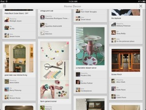 Browsing pins on the Pinterest iPad app
