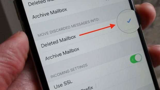 iOS Mail Move Discarded Messages setting