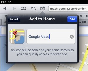 Add a home screen icon for Google Maps to iPad