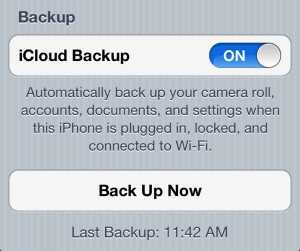 Checking your last iCloud backup