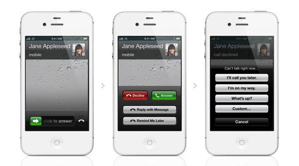 Decline a call with a text message in iOS 6