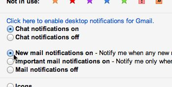 Gmail desktop notifier settings
