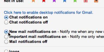Gmail desktop notifier settings