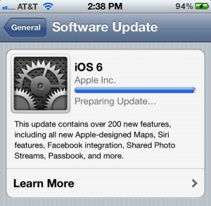 iOS 6 Preparing Update message