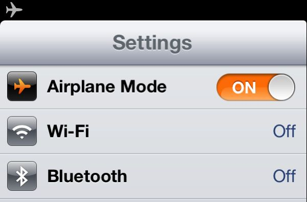 iOS Airplane mode