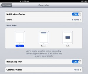 iOS notification settings