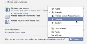 Facebook app privacy settings