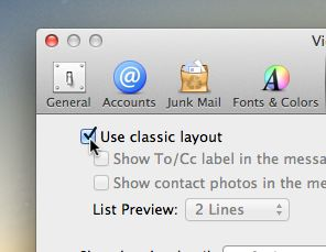 Mac Mail classic layout setting
