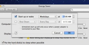 Mac scheduler settings 300x152 How to set your Mac to automatically start up (or shut down) each day