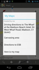 Saved Maps menu in Google Maps
