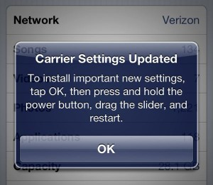 Verizon iPhone 5 carrier settings alert