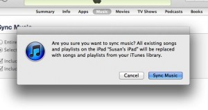 iTunes sync music warning 300x159 How do I keep my iPad from syncing automatically with iTunes? (reader mail)