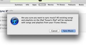 iTunes sync music warning
