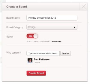 Creating a secret board on Pinterest