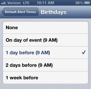 iPhone birthday alert settings 300x293 iPhone tip: How to take charge of birthday alerts