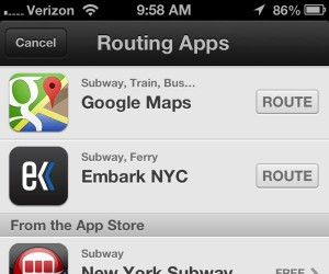 Apple Maps listing of routing apps