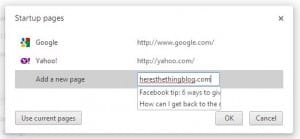 Chrome startup page settings