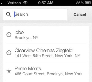 Google Maps for iPhone saved searches