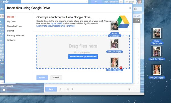 How to send Gmail attachments with Google Drive