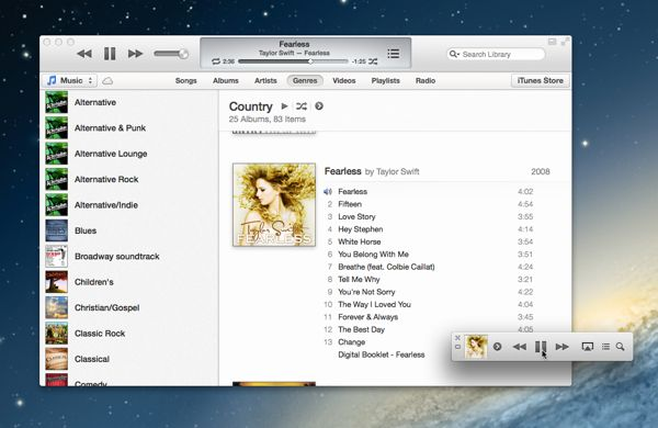 Keep the iTunes MiniPlayer floating on your desktop
