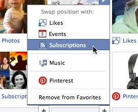 Rearrange Favorites on Facebook timeline