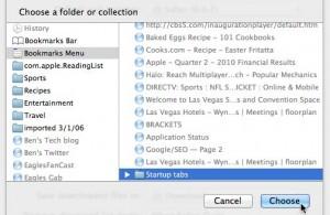Safari startup tab settings
