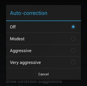 Android auto-correction settings