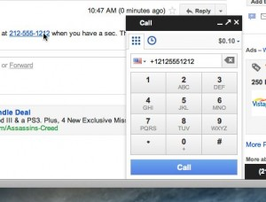 Gmail click a number to dial