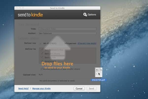 How to send a document from your desktop to a Kindle