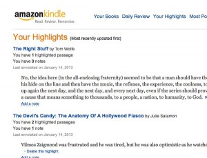 Your Highlights on Kindle profile