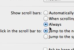 "Want your missing scroll bars back? Make sure the ""Always"" show scroll bars option is selected in the ""General"" preferences panel."