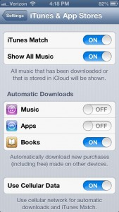 iOS Automatic Download settings