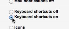 Gmail keyboard shortcuts setting