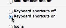 Gmail keyboard shortcuts setting